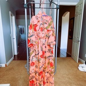 Gianni Bini Halter Pink Floral Maxi Dress